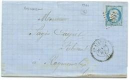 N° 60 BLEU CERES SUR LETTRE / CAD PERLE BOISSEZON TARN POUR ROQUECOURBE / 1871 / GC 4982 INDICE 20 (COTE 420€) - Marcophilie (Lettres)