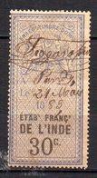 Col17  Colonie Inde Timbre Fiscal Oblitéré à Pondy Le 21 Mai 1883 - Used Stamps