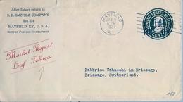 1927 , ESTADOS UNIDOS , MAYFIELD - BRISSAGO , MARKET REPORT LEAF TOBACCO , SOBRE ENTERO POSTAL CIRCULADO - 1921-40