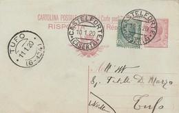 Castelforte. 1920. Annullo Guller CASTELFORTE (CASERTA), Su Cartolina Postale Con Testo - 1900-44 Victor Emmanuel III