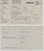 Titre De Permission Des CHANTIERS DE JEUNESSE/Groupement 17, Groupe 1, Réduction 1/4 De Place SNCF, 1943 - Documents