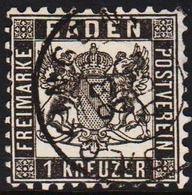 1862. BADEN. Wappen (Hintergrund Weiss.) 1 KREUZER 10x10 Thin/Dünn/tynd.  () - JF319701 - Bade