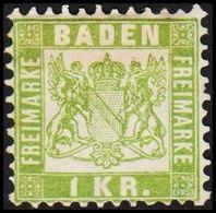 1868. BADEN. Wappen (Hintergrund Weiss.) 1 KR 10x10  () - JF319715 - Bade