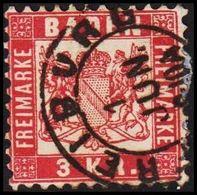 1868. BADEN. Wappen (Hintergrund Weiss.) 3 KR 10x10 FREIBURG 1 JUN. () - JF319725 - Bade