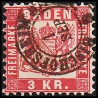 1868. BADEN. Wappen (Hintergrund Weiss.) 3 KR 10x10 BISCHOFSHEIM 1 SEP. () - JF319726 - Bade