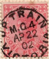 TPO APRIL 22, 1902 UP TRAIN M.G. 4 Victoria Postmark Cancel, On  Penny PINK  QV - Oblitérés
