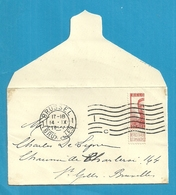 PREMIERS MOIS DE GUERRE - Petite Enveloppe TP Pellens Coupé En Deux - BRUXELLES 14 IX 1914 - Guerra '14-'18