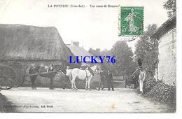La Poterie Vue Route De Bruneval Chevaux Attelage Charette - France