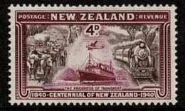 New Zealand 1940 Centennial 4d The Progress Of Transport MH - Unused Stamps