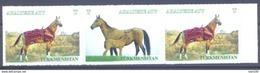 2017. Turkmenistan, Horses, 3v In Strip, Mint/** - Turkmenistan