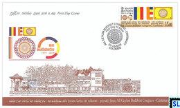 Sri Lanka Stamps 2019, All Ceylon Buddhist Congress, Buddha, Buddhism, Flags, FDC - Sri Lanka (Ceylon) (1948-...)