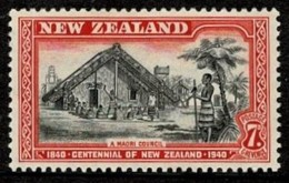 New Zealand 1940 Centennial 7d A Maori Council MH - - - Unused Stamps