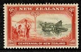 New Zealand 1940 Centennial 9d A Modern Gold Dredge MH - Unused Stamps