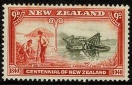 New Zealand 1940 Centennial 9d A Modern Gold Dredge MH - See Notes - Neufs