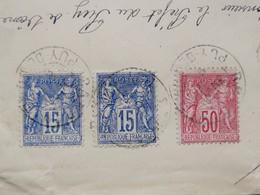 Timbres Type Sage II, N°75, 90 Et 98 Sur Enveloppe - 1876-1898 Sage (Tipo II)