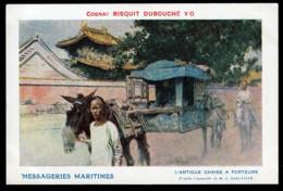 CPA ANCIENNE- FRANCE- DOUBLE PUB : MESSAGERIES MARITIMES + COGNAC BISQUIT-DUBOUCHE- ANTIQUE CHAISE A PORTEUR CHINOISE - Werbepostkarten