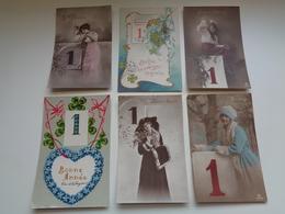 Beau Lot  60 Cartes Postales De Fantaisie Chiffre 1 Janvier Bonne Année     Mooi Lot 60 Postk. Fantasie Cijfer Nieuwjaar - 5 - 99 Postkaarten