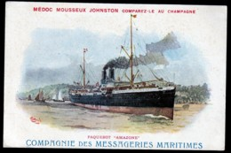 CPA ANCIENNE- FRANCE- DOUBLE PUB : MESSAGERIES MARITIMES + MEDOC MOUSSEUX JOHNSTON- PAQUEBOT AMAZONE - Advertising