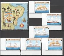 E225 1983,1997 GUINE-BISSAU GUINEE TRANSPORT SHIPS 1SET+1BL MNH - Barche