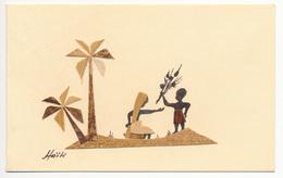 Carte Double 13.2 X 8.3 (x 2) Bois Découpé Collé  HAÏTI - Haiti