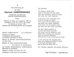 Reder R.VANDIERENDONCK °HEIST 1927 +KNOKKE 1991 (B.VANDIERENDONCK) - Images Religieuses