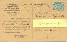GANDON 5 F. Vert YT 719 TIMBRE SEUL Sur CP AVIS DE PASSAGE OMec KRAG ST GERMAIN EN LAYE SEINE ET OISE 31 III 49 - Postmark Collection (Covers)