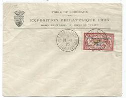 N° 182 LETTRE CONCORDANTE EXPO PHILATELIQUE BORDEAUX 16.5.1923 SIGNATURE CALVES - Marcophilie (Lettres)