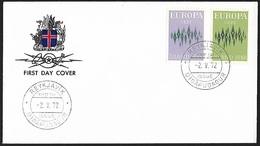 1972 - ISLAND - FDC + Michel 461/462 - Y&T 414/415 [Europa] + REYKJAVIK - FDC
