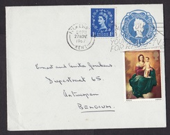 UK: Stationery Cover To Belgium, 1967, Queen Elizabeth II, QEII, 4d Rate, 2 Extra Stamps (traces Of Use) - 1952-.... (Elizabeth II)