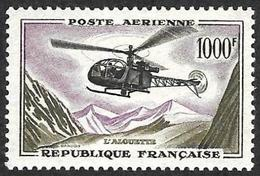 FRANCE  1957-59 -  PA  37 - Helicoptere Alouette  - NEUF** - Cote 72e - Poste Aérienne