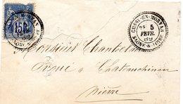Saône-et-Loire - EnvSC Affr N° 90 (déf) Obl Tàd Type 25 Cussy-en-Morvan - Marcophilie (Lettres)