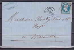D111/ NAPOLEON N° 14 SUR LETTRE - 1853-1860 Napoléon III