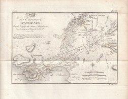 Carte Géographique D'Athènes Et Environs - Pour Le Voyage Du Jeune Anacharsis - Revue Et Corrigée En 1821 - Cartes Géographiques