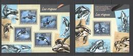CA431 2014 CENTRAL AFRICA CENTRAFRICAINE FAUNA MARINE LIFE ORCAS LES ORQUES KB+BL MNH - Balene