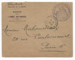 1917 - BUREAU FRONTIERE W ENTRE 2 * - ABBEVILLE (SOMME) - ENV. FM MISSION MINISTERE De La GUERRE Pres ARMEE BRITANNIQUE - Marcophilie (Lettres)