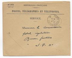 1915 - BUREAU FRONTIERE M SANS * - LE BOURGET - ENVELOPPE FM De SERVICE - Marcophilie (Lettres)