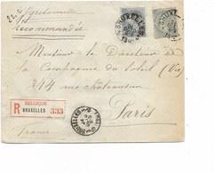 SH 0290. N° 60-63 BRUXELLES 3 - 24 OCTO 1901 + BRUXELLES 3.10 S/Lettre RECOMMANDEE DOUBLE PORT V. Paris (75c) - 1893-1900 Barba Corta
