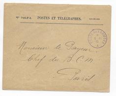 1915 - BUREAU FRONTIERE A En VIOLET ! - BESANCON (DOUBS) - ENVELOPPE FM De SERVICE => BCM PARIS (CACHET AU DOS) - Marcophilie (Lettres)