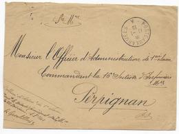 1916 - BUREAU FRONTIERE A - BESANCON (DOUBS) - ENVELOPPE FM De SERVICE => INFIRMIERS MILITAIRE à PERPIGNAN - Marcophilie (Lettres)