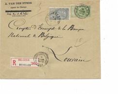 SH 0291. N° 56-63 BRUXELLES 3 - 9 FEVR 1903 + BRUXELLES 3/10 S:L. RECOMMANDEE TRIPLE PORT V. Louvain - 1893-1900 Barba Corta