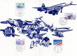 """RARISSIME """" DE L'AEROPOSTALE A CONCORDE """" Sur Encart Luxe 1er Jour De 4 Pages.  N° YT 2 X PA 46 + 49 + 51 + 54 + 56. - Concorde"""