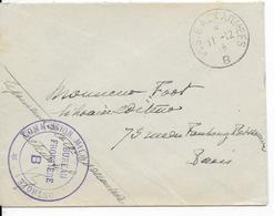 1915 - BUREAU FRONTIERE B - GRAY (HAUTE SAONE) - ENVELOPPE FM Avec RARE CENSURE Du BUREAU FRONTIERE => PARIS - Marcophilie (Lettres)