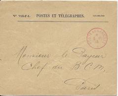 1915 - BUREAU FRONTIERE A En ROUGE ! - BESANCON (DOUBS) - ENVELOPPE FM BCM PARIS - Marcophilie (Lettres)