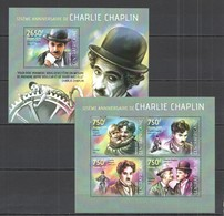 CA485 2014 CENTRAL AFRICA CENTRAFRICAINE FAMOUS PEOPLE ANNIVERSARY CHARLIE CHAPLIN KB+BL MNH - Acteurs