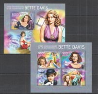 CA488 2014 CENTRAL AFRICA CENTRAFRICAINE CINEMA FAMOUS PEOPLE ANNIVERSARY BETTY DAVIS KB+BL MNH - Acteurs