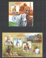 CA525 2014 CENTRAL AFRICA CENTRAFRICAINE FAMOUS PEOPLE GREAT HUMANIST MAHATMA GANDHI KB+BL MNH - Mahatma Gandhi