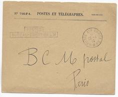 1915 - BUREAU FRONTIERE M AVEC CHAPEAU - LE BOURGET - ENVELOPPE FM => BCM PARIS - Marcophilie (Lettres)