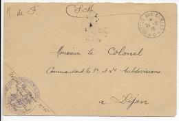 1916 - BUREAU FRONTIERE G ENTRE 2 * - NOISY LE SEC - ENVELOPPE FM HOPITAL TEMPORAIRE N° 65 IS SUR TILLE (COTE D'OR) - Marcophilie (Lettres)