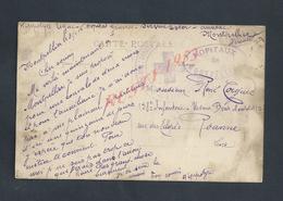 MILITARIA CPA EN FRANCHISE MILITAIRE ECRITE EN 1916 TAMPON HOPITAUX DE MONTPELLIER CROIX ROUGE DE HIPPOLYTE LEGAC - Marcophilie (Lettres)
