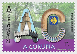 H01 Spain  2020 12 Months, 12 Stamps - Coruña MNH Postfrisch - 1931-Oggi: 2. Rep. - ... Juan Carlos I